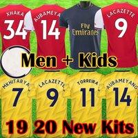 kits de futebol amarelo venda por atacado-Arsenal 2019 2020 AUBAMEYANG 19 20 Camisas De Futebol LACAZETTE MKHITARYAN 19 20 camisas de futebol OZIL XHAKA kits uniforme de futebol Crianças conjunto de equipamentos maillot