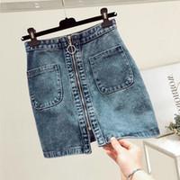 saia jeans venda por atacado-Moda Verão Mulheres Frente cintura alta zip saia jeans Casual Zipper A-linha Mini Saias bolso Wrapover saia jeans