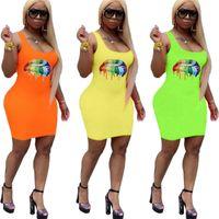 vestido de vestido de arco íris sem mangas mulheres venda por atacado-Low Cut saia sem mangas vestidos de verão do arco-íris boca bordo Impresso Moda tanque das mulheres vestido longo Vest Beach Sports Roupa Clubwear C62709
