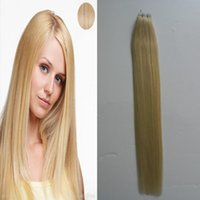 "Discount burgundy brazilian remy hair Skin Weft Adhesive Hair None 14"" 18"" 20"" 22"" Remy Tape In Human Hair Extensions Blonde Silky Straight European Tape In Hair Extension Salon"