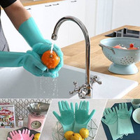 Magic Washing Gloves Brush Silicone Glove Resuable Household Scrubber Anti Scald Dishwashing Gloves Kitchen Cleaning Tools 1 Pair