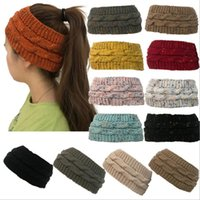 Wholesale wholesale fashion army hats online - women s hat knitted winter warm beanies high stretch twisted cable knit Bun Ponytail Hats cap girls turban hat head warmer