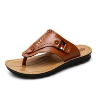 Wholesale high heeled clogs resale online - New Men Slippers Summer Flip Flops The First Layer Cow Leather Flat Heel Casual Mulers Clogs Beach Shoes High Quality Sandals
