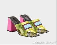 sohle pu sandale großhandel-Transparente Damen Sandalen mit mittlerem Absatz, Pantoletten mit hohem Absatz, PVC-Obermaterial mit Ledersohle, hergestellt in Italien, 9 cm / 12 cm, Größe 35-43