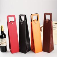 caja de paquete de vino al por mayor-Portátil de lujo, PU, Bolsas de vino de cuero, Botella de vino rojo, Caja de empaque, Cajas de almacenamiento de regalo, con manija, accesorios de barra