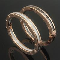 pulseras ceramicas circonia al por mayor-Diseño superior de alta calidad brazaletes de encanto números romanos negro y blanco de cerámica brazalete de oro rosa / oro / plata joyería de boda