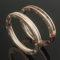 Wholesale gold roman numeral bangle resale online - Top design high quality charm bangles Roman numerals black and white ceramic Bangle bracelet rose gold gold silver wedding jewelry