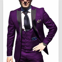 ingrosso maglia cappotti immagini-2018 On Sale 3 pezzi One Button Red cappotto immagine del pantalone immagini Classic Fit uomo abiti da sposa Smoking smoking Custom Suit (Jacket + Pants + Vest)