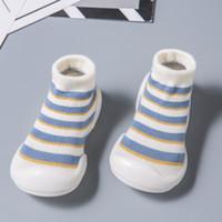 ingrosso calzini in cotone infantile-Neonati antiscivolo Ragazzi Sock Infant High Sock Stripes Attipas Baby Shoes Toddler Neonato Bambini Slipper First Step Shoe