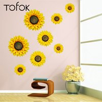 Wholesale sunflower stickers for wall resale online - Tofok D Sunflower Wall Decoration Imitation Floral Decoration Flower Artwork S M L Living Room Bedroom Setting Wall Stickers