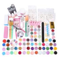 amortiguador de polvo al por mayor-Juego de manicura DIY Nail Buffer Acrílico Glitter Powder Pen para Crystal Effect Sparkle Kit de herramientas de decoración de uñas para Nail Art Salon Envío gratis
