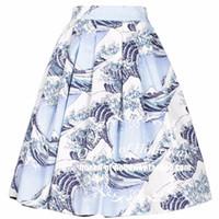 grandes faldas al por mayor-40- vintage 50s Japón The Great Wave falda plisada plisada rockabilly pinup faldas más tamaño 4xl saia faldas