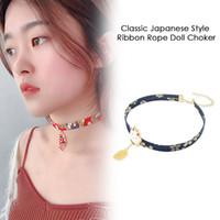 muñeca japonesa de chicas calientes al por mayor-2019 Hot Classic Japanese Style Ribbon Rope Doll Gargantilla Cute Girls Bird Cat Carp Colgante Collar corto para damas encantadoras