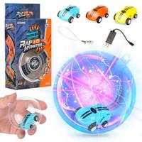 cable listo al por mayor-Las rotaciones de 360 ° de los coches de luz láser de alta velocidad giran en 360 ° las luces frescas muchos tipos de trucos USB Recarga de juguetes para niños 360 ° de giro 2 engranajes