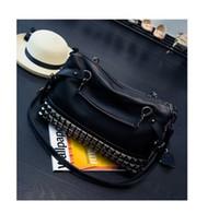 Wholesale womens handbag rivets online - Desiner Luxury Womens Totes New Fashionable Large Capacity Rivet Large Bag Lady Bags with Shoulder Oblique Straddle Girls Black Handbags Hot