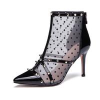 botas de oficina de mujer al por mayor-Venta al por mayor Sexy Mesh Remaches puntiagudo mujeres del cuero genuino bombas 85 mm moda zapatos de tacones altos para las mujeres zapatos de vestir de oficina botines