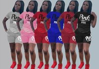 Wholesale plus size sweat suits resale online - Letter Pink Print Piece Set Women Plus Size Top And Pants Casual Outfit Sweat Suits Two Piece Sweatshirt Tracksuit