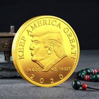 ingrosso monete d'oro americane-2020 Donald Trump Moneta commemorativa Presidente americano Avatar Monete d'oro Distintivo d'argento Collezione di gioielli in metallo Repubblicano