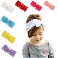 Wholesale hot band hair for sale - Group buy 2019 New Girls Headwear Lace Big Bow Hair Band Kids Head Wrap Band For girl hair Accessories hot sale hairband