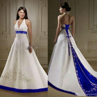 Wholesale halter open back sexy wedding dress resale online - 2020 Court Train Ivory and Royal Blue A Line Wedding Dresses Halter Neck Open Back Lace Up Custom Made Embroidery Wedding Bridal Gowns