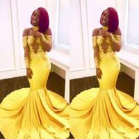 ingrosso formali gialli-2019 New Yellow African Mermaid Prom Dresses Lace off spalla maniche lunghe vedere attraverso abiti da sera formale partito abiti da treno sweep