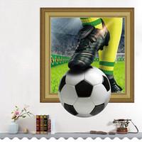 futbol çıkartmaları toptan satış-3D Futbol Duvar Çıkartmaları Çocuk Odası Bar Restoran Için Sanat Mural Ev Dekorasyonu Yatak Odası PVC Kendinden yapışkanlı Spor Futbol Çıkartması Poster