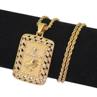 Wholesale mens titanium cross chain resale online - Gold Color Cross Hands Hiphop Bling Necklace with Zircon Mens Religious Jewelry Iced Out Prayer Jesus Women Men Gift