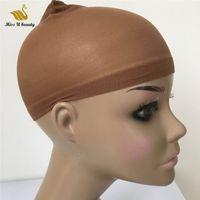 Wholesale wig worn resale online - Deluxe Wig Cap Pieces HairNet For Wigs Black Brown Blonde Color Weaving Cap for Wearing Wigs Snood Nylon Mesh Cap
