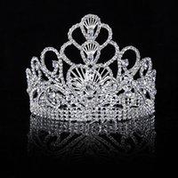 ingrosso fascia dei cuori della regina-Himstory New Luxury nuziale Tiara grande cuore di cristallo Regina corona accessori per capelli da sposa diadema ornamenti di capelli fascia di spettacolo