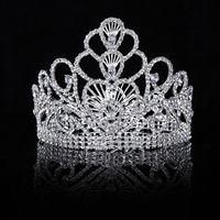 diadema reina corazones al por mayor-Himstory nuevo lujo nupcial tiara corazón grande cristal reina corona boda accesorios para el cabello diadema diadema adornos para el cabello