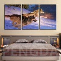 rahmen wolf bild großhandel-Home Decoration Leinwand Hd Druck Poster Tiere Wolf Gemälde Moderne Art-Wand-Kunst Klassisches Wohnzimmer Modular Bilderrahmen