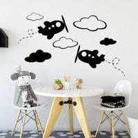 Wholesale airplane decor resale online - Airplane Wall Decal Cloud Vinyl Plane Sticker Nursery Boy Room Home Decor Modern Removable Wall Stickers Wallpaper Kids