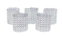 anneaux en plastique achat en gros de-100pcs or / argent anneaux de serviette en strass pour la décoration de mariage en plastique chaise Sash arcs détenteurs de serviette Tableau Deco Accessoires