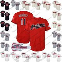 Wholesale baseball jerseys stars resale online - Custom Indians Jerseys Cleveland Jose Ramirez Lindor Kluber Carlos Santana Yasiel Puig All Star Red Navy White Gray