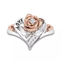 piedra preciosa de cristal rosa al por mayor-Mujeres Flor de Rosa Anillos de Diamantes Circonitas Cúbicas Flor de Moda Anillo de Bodas Hoja Broche Cristal de Oro Anillos de Bodas de Piedras Preciosas