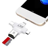 types de cartes achat en gros de-4 en 1 Micro USB Type C OTG TF Exter Lecteur de carte mémoire pour IOS iPhone Téléphones Samsung Samsung Type-C Ordinateur