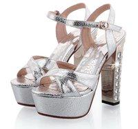 cunhas de salto alto de noiva venda por atacado-Big Small Size 31 32 a 42 brilho sequiend ouro prata grossos saltos altos sapatos de noiva