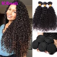 moğol insan saçı inç toptan satış-Moğol Kinky Kıvırcık Bakire Saç Paketler Remy İnsan Saç Uzantıları Doğa Rengi Satın 3/4 Paketler Kalın Kinky Kıvırcık Paketler