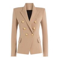 formale büro blazer für frauen großhandel-Herbst-Winter 2018 Runway Designer Formal Blazer Frauen Gold Lion Buttons Zweireihig Damen Büro Mantel-Kleidung Jacken