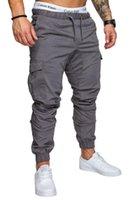 ingrosso tasca baguette di sweatpants-2018 pantaloni casuali degli uomini di colore solido Harem pantaloni della tuta maschile Coon Multi-pocket Sportwear Baggy comodi ansimano Mens Joggers