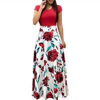 maxi kısa kollu elbiseler toptan satış-Kadın Yaz Uzun Elbise Çiçek Baskı Bohemian Plaj Maxi Elbise Rahat Patchwork Kısa Kollu Parti Elbiseler Vestidos Verano 2018 Y190117