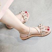 34 размер обуви оптовых-Два носить сандалии и тапочки Женщины, носящие летнюю моду 2019 Новый дикий кожаный чистый красный с плоским дном Рим Пляжная обувь Размер 34-41