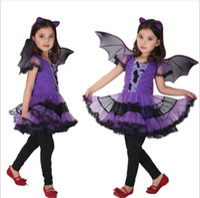 niños tutu de hadas al por mayor-Halloween Baby Girls Bat Disfraces de Cosplay Con alas Tutu Mesh Witch Dress Niños Vestidos sin mangas Niños Ropa de diseñador M345