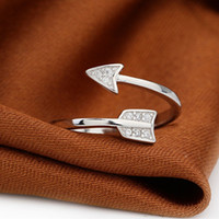 Wholesale adjustable arrow ring resale online - Jisensp Fashion Silver Arrow Crystal Open Rings for Women Adjustable Engagement Female Jewelry Finger Ring anillos mujer