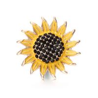 kristal ayçiçeği toptan satış-10 adet / grup Yüksek Kalite 18mm Alaşım Ayçiçeği Moda Snap Düğmesi Bilezik Charm Rhinestone Düğme zencefil Kristal Snaps Takı