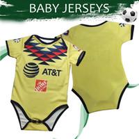 camisas de bebé amarillo al por mayor-Baby Jersey 2020 Club America Inicio Amarillo Camisetas de fútbol 19/20 Camiseta de fútbol infantil Liga MX Uniforme de fútbol En rebajas