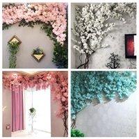 künstliche kirschblüten reben großhandel-Künstliche Kirschbaum Rebe Gefälschte Kirschblüte Blume Zweig Sakura Tree Stem für Event Hochzeit Tree Deco Künstliche dekorative Blumen