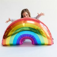 tamanhos de balão de alumínio venda por atacado-Rainbow Inflação Balão Festa de Aniversário Da Criança Helium Airballoon Filme De Alumínio 93x59 cm Tamanho Grande Selagem Automática Popular 2 1sl C1