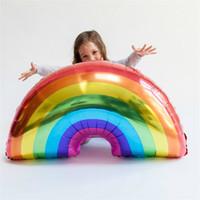 Wholesale aluminum balloon sizes resale online - Rainbow Inflation Balloon Child Birthday Party Helium Airballoon Aluminum Film x59cm Large Size Automatic Sealing Popular sl C1