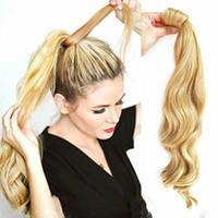 ingrosso avvolgere le estensioni dei capelli del ponytail-Coda di cavallo avvolgente - streghetta e ondulata, 100g, 50cm lungo Coda di cavallo naturale Clip In Hair Extension Wrap Pony Tail Fake Hairpiece
